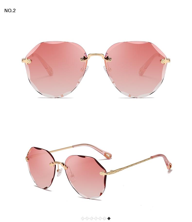 HTB1OhbDKFzqK1RjSZFvq6AB7VXaO AEVOGUE Sunglasses For Women ladies Rimless Diamond cutting Lens Brand Designer Ocean Shades Vintage Sun Glasses AE0637