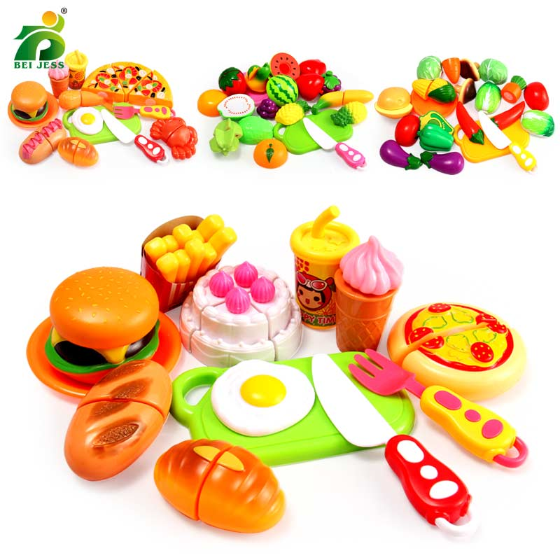 4 Types 13Pcs Kitchen Pretend Play Fruits And Vegetables Mini Food Cutting Girl Birthday Cake Toy Set Education For Kids