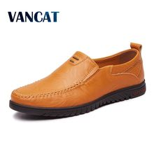 VANCAT Fashion Casual Driving Shoes Leather Loafers Men Shoes Summer spring Breathable Moccasins Mens Slip-On Black Shoes