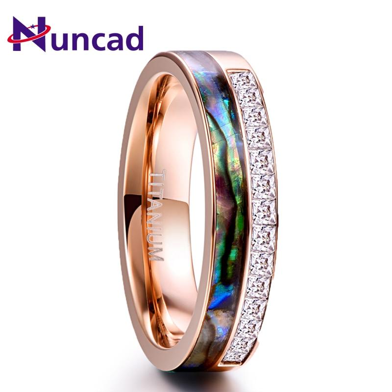 Nuncad 6MM Rose Gold Kristall Edelstahl Ring Für Männer Frauen Natual Shell Platz CZ Stein Ring Hochzeit Schmuck geschenk Volle Größe