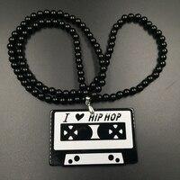 I LOVE HIP HOP Traditional Magnetic Tape Cassette Black White Badge Fashion Pendant Car JDM Charm