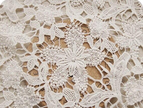 Tissu en dentelle noire de 1 yard avec rétro floral, tissu en dentelle florale évidée, tissu en dentelle guipure