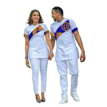 free shipping african lady and man same design soft material embroidery design top with pants