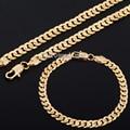 Moda 6 mm cadena para mujer para hombre muchachos de las muchachas Cut martillado ronda Curb cadena oro amarillo Filled cadena collar de la pulsera Jewerly DLGS189