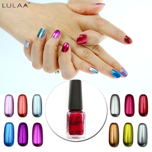 LULAA Metálico Nail Polish Color Puro 6 ml Efecto Espejo de Metal ...