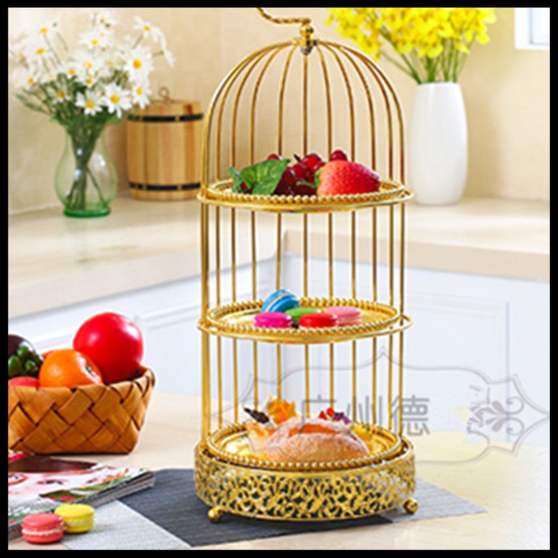 1PCS Vintage gold double layer three floors bird cage cake stand afternoon tea snack rack dessert West cake pan