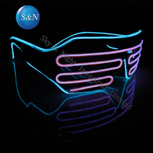 (Ice blue+Pink) Mix color LED EL Fashion Shutter Glasses+Sound Inverter + Free Shipping
