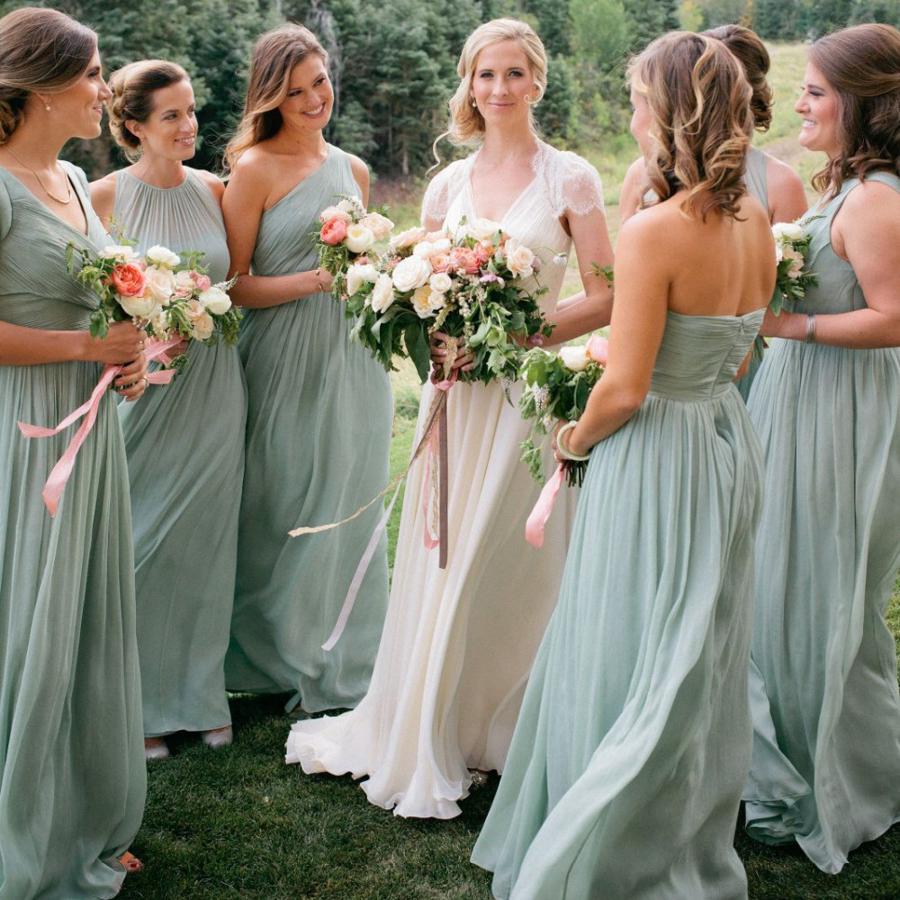 Elegant Sage Green Bridesmaid Dresses Long A Line Chiffon ...