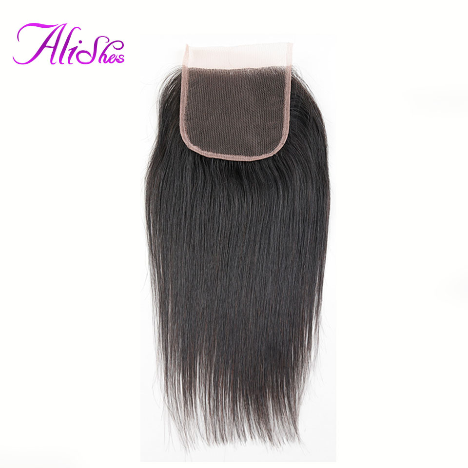 Alishes Pervuain Straight Hair 10-20 Inch Human Hair Closure 130% Density 4x4 Lace Closure Hand Tied Remy Hair Free/Middle Part