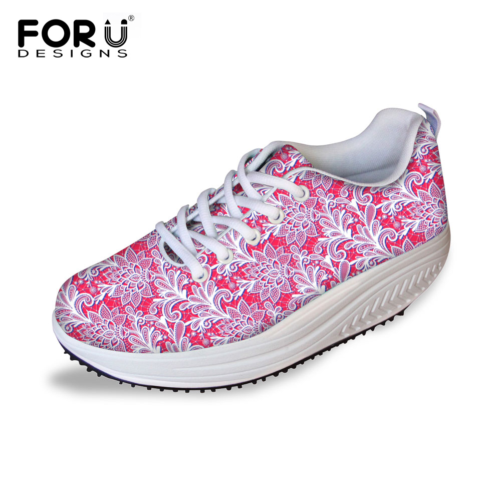 FORUDESIGNS Fashion Lace Up Slimming Swing Shoes Women Breathable Wedge Platform Shoes Casual Female Lose Weight Fitness Shoes new women lose weight slimming swing shoes summer breathable air mesh slip on wedge platform shoes zapatillas mujer deporte