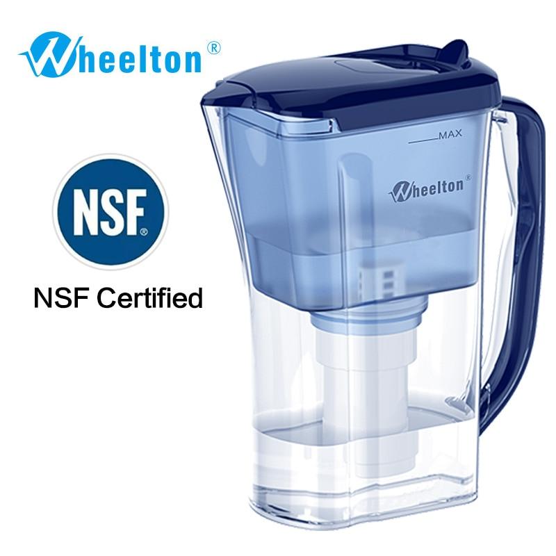 Wheelton Waterfilter Pitcher 4.5 Cup Huishoudelijke keuken & buiten Verminder kalkvrije BPA-vrije luchtreiniger gecertificeerd door NSF