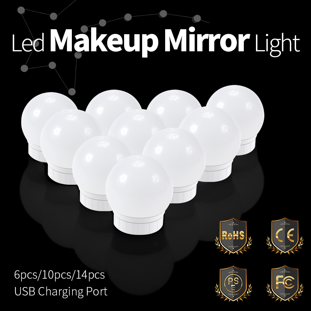 Makeup Vanity LED Mirror Light USB DC12V Touch Switch For Lamp 2 6 10 14 Blub Bulbs Hollywood Style