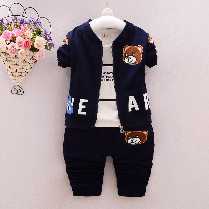 Boys Fashi Spring and Autumn Cartoon Cubs Three-piece Casual Jacket Trousers Kids Clothes Outfit Sets