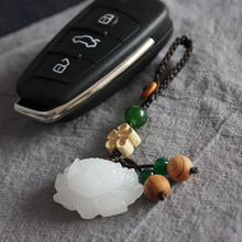 key Rings original handmade white jade lotus chain  pendant bag hanging hand-made live buckle chinese style retro jewelry