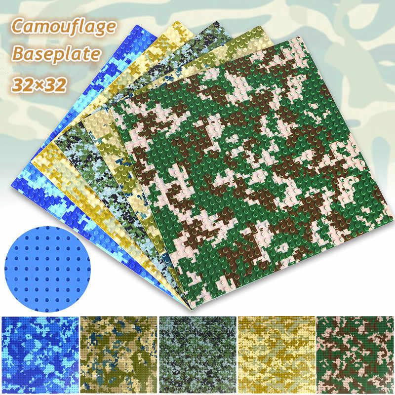 32X32 Titik-titik Kecil Kamuflase Sea Island Baseplate Blok Bangunan Seabeach Base Plate 100% Kompatibel dengan Legoings Blok Mainan