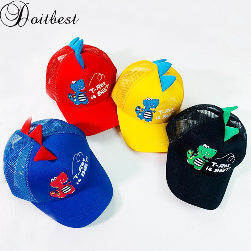 Doitbest 2-8 Years Old Summer Children Baseball Cap Boys Girls Cartoon Dinosaur Snapback Mesh Kids HipHop Hat Sun Cap