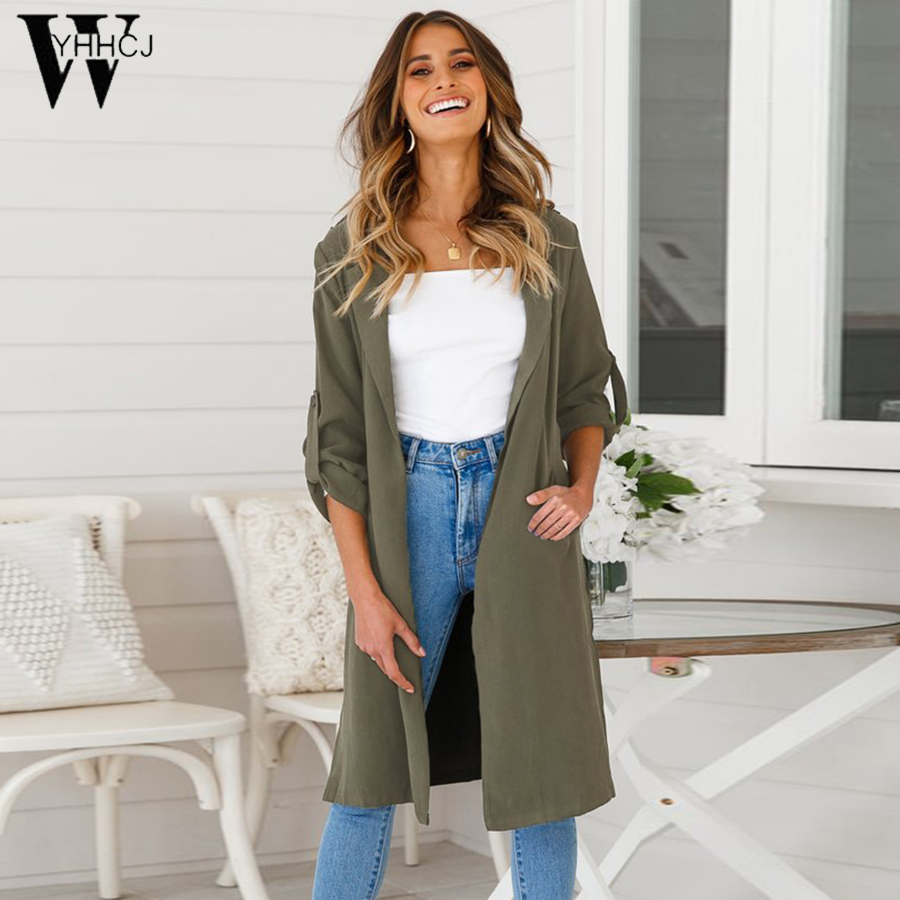 WYHHCJ 2018 women's summer solid single breasted turn down collar long sleeve bandage thin   trench   coat female loose windbreaker