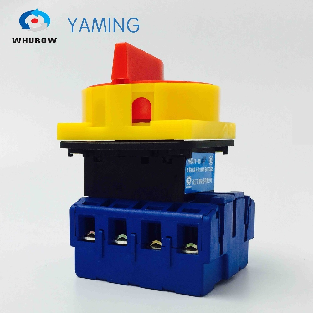 Yaming Locking isolator switch with padlock panel 40A 4 Phases 2 position on-off Changeover rotary switch YMD11-40A/4PYaming Locking isolator switch with padlock panel 40A 4 Phases 2 position on-off Changeover rotary switch YMD11-40A/4P