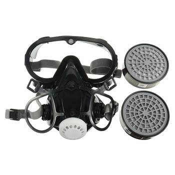 NEW Respirator Gas Mask Safety Chemical Anti-Dust Filter Military Eye Goggle Set Workplace Safety Protection 5