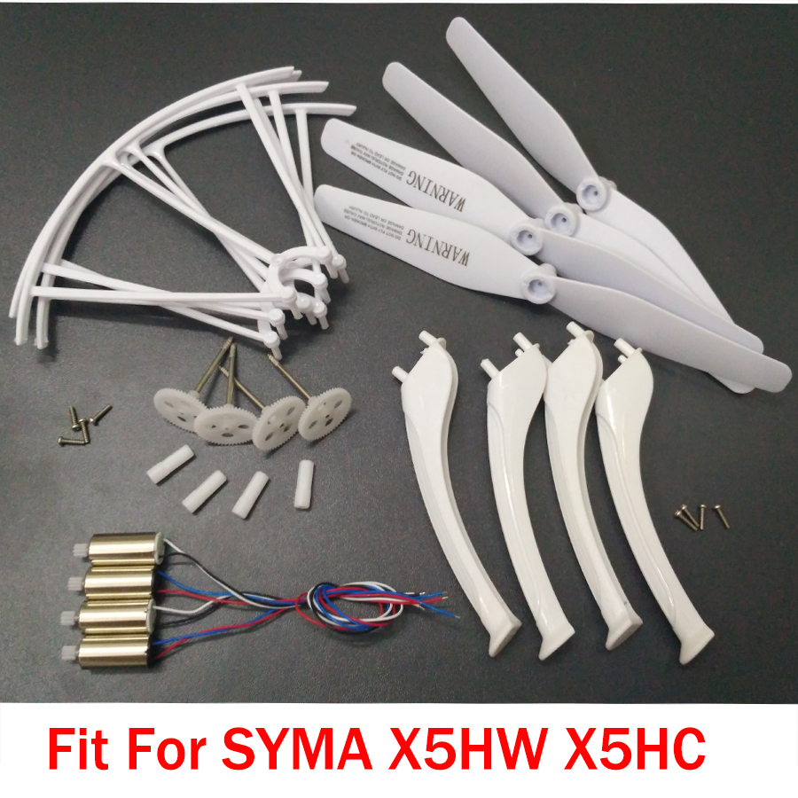 SYMA X5HW X5HC RC Drone Spare Parts Kits Main Gear Motor Propellers Landing Tripod Protective Ring With Screw syma x5hc x5hw spare parts shell motor propeller main blade landing gear kit protection ring frame rc drone accessory