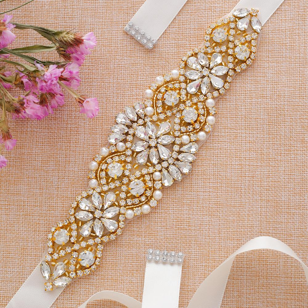 Gold Rhinestone Wedding Belt Handmade Pearl Crystal Bride Belt  For Wedding Dress Accessories A104G
