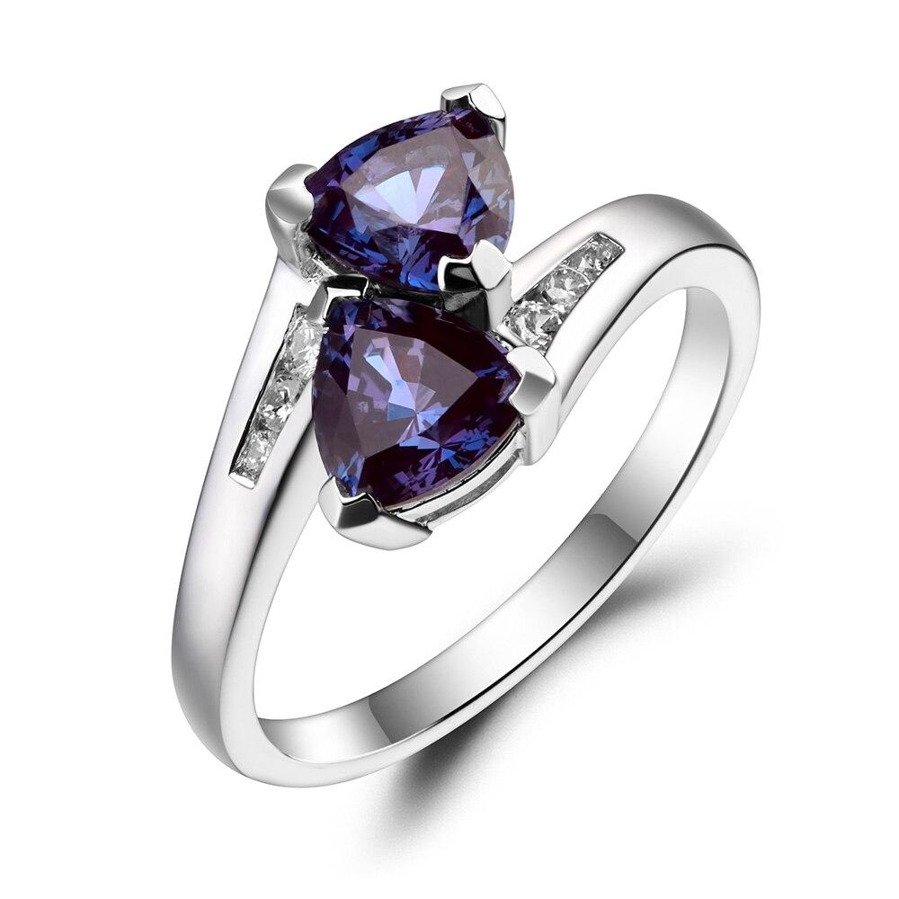 Joyería de Leige anillo de boda junio Birthstone trillón corte piedra preciosa cambio de Color gema 925 Plata de ley para ella-in Anillos from Joyería y accesorios    2