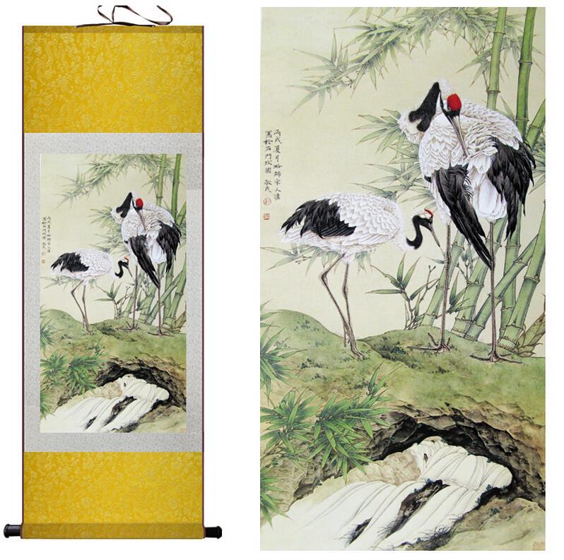 Tradiční hedvábné umělecké malby Gruidae malba Čínské umění malba Domácí kancelář Dekorace Čínská malbaTlačený obraz