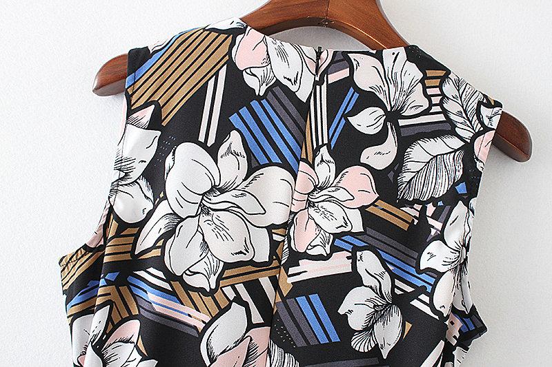 Bella Philosophy 2017 spring summer jumpsuit Women floral print bow waist jumpsuit sleeveless wide leg jumpsuit 15