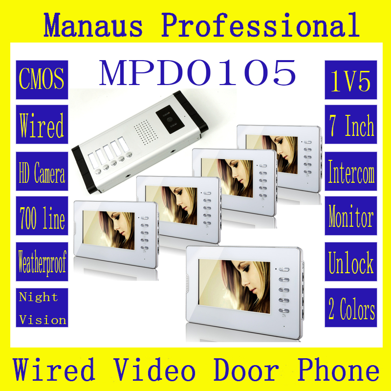 High Quality One to Five Video Doorphone Kit Configuration,Professional Smart Home 7 inch Display 1V5 Video Intercom Phone D105b