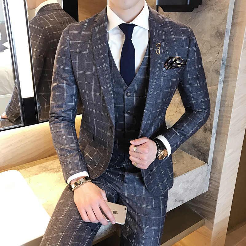 Vestiti Eleganti 2018 Uomo.Vestito Uomo Elegante Costume Homme Mariage 2018 Plaid Italian