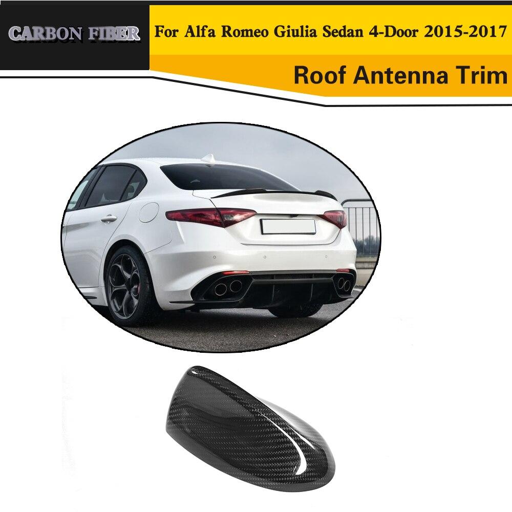 En Fiber De carbone Auto Toit Antenne Extérieur Garniture cas pour Toyota Alfa Romeo Giulia 4 Porte 2015 2016 2017 Quadrifoglio TI autocollant de voiture