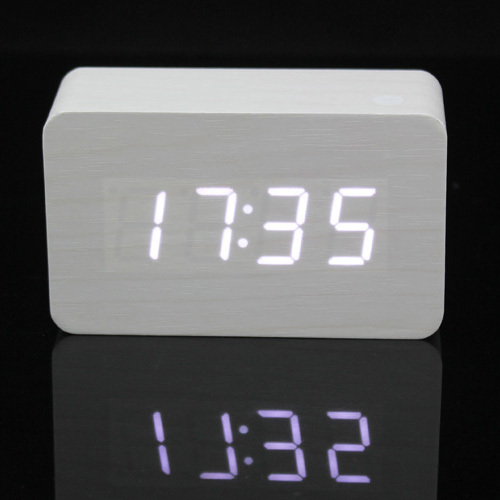 White Led Night Light Wood Digital Wooden Alarm Clock Temperature Thermometer Voice Activated Free Delivery