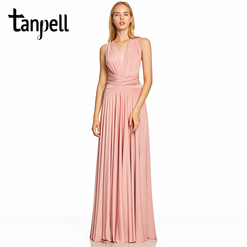Tanpell criss-cross straps   evening     dress   pink v neck sleeveless floor length a line gown women prom formal long   evening     dresses
