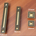 128mm Retro style furniture handles bronze dresser kitchen cabinet door handle antique brass square drawer wardrobe knob pull 5""