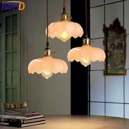 IWHD Loft Style Vintage Pendant Lamp Retro Glass Pendant Lights Edison Industrial Lighting Fixtures Kitchen Dining Room Light loft vintage industrial pendant light fixtures copper glass shade pendant lamp restaurant cafe bar store dining room lighting