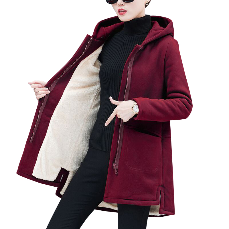 2019 New Autumn Thicken Plus Velvet Jacket Female Long Sleeve Loose Hooded Long Spring Coat Feminino Abrigos Mujer Outerwear L27