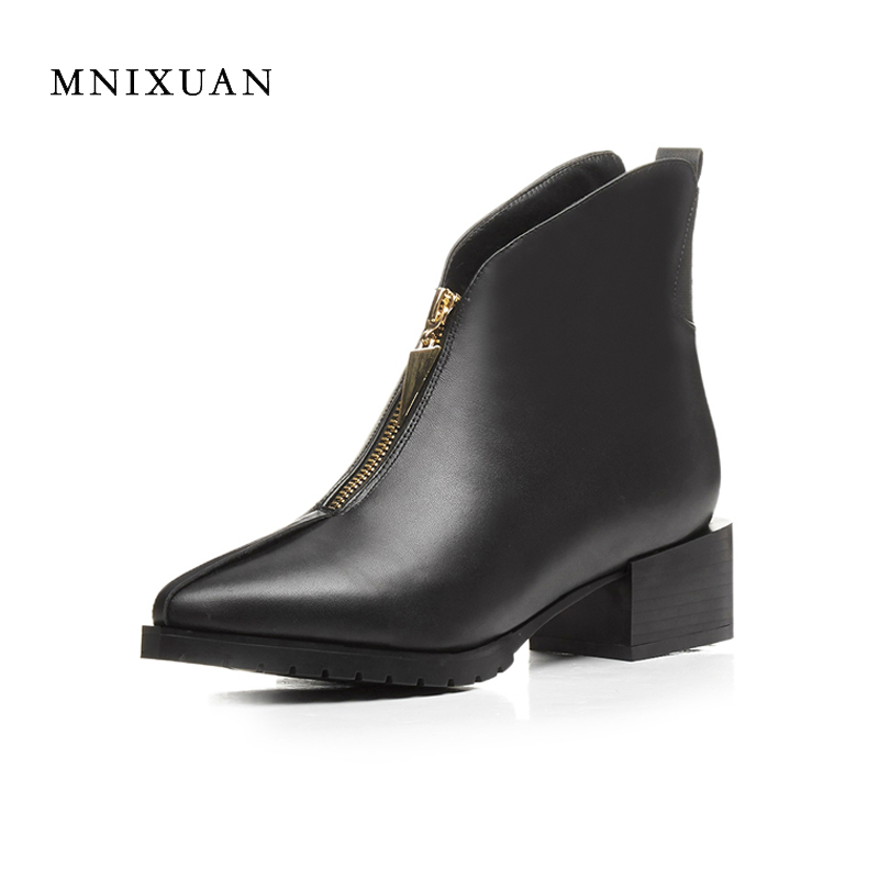 European style winter boots women 2017 fashion thick heel genuine leather pointed toe medium heels short ladies shoes big size41