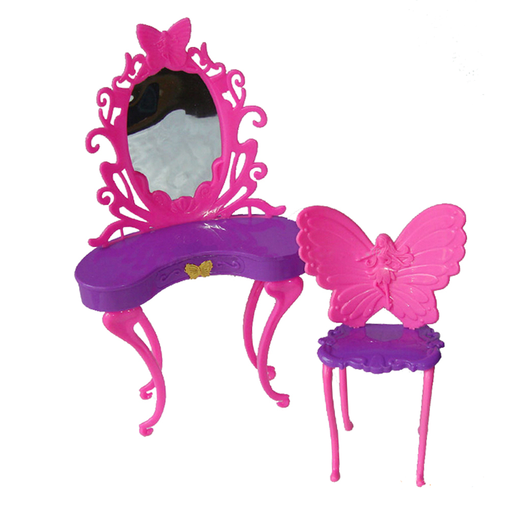 Birthday present toys for child women play home toys Fairy butterfly dresser dressing desk with chairs doll home for barbie doll