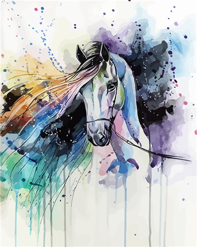 Paint By Numbers - Abstract Horse Animal