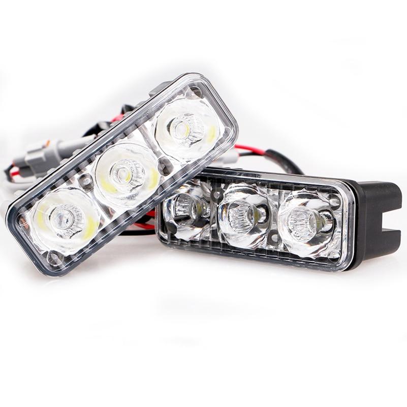 2PCS LED DRL Daytime Running Light Car LED steering small harpoon 3 lights ATV Fog Tail lamp Reverse LED 12V For Universally Car
