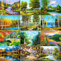 AZQSD Diamond Embroidery Landscape Handmade Gift Diamond Painting Cross Stitch Full Square Scenic Wall Decor 5D DIY BB10425