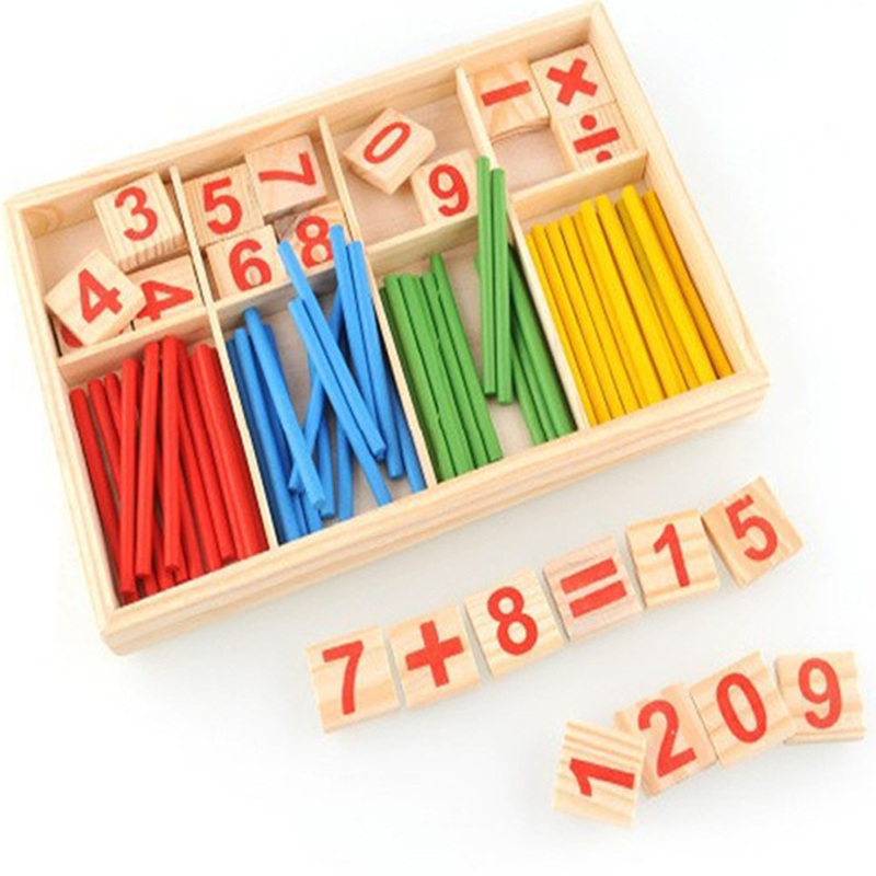 Math Toy Wooden Number Math Game Sticks Educational Toy Puzzle Kids ...