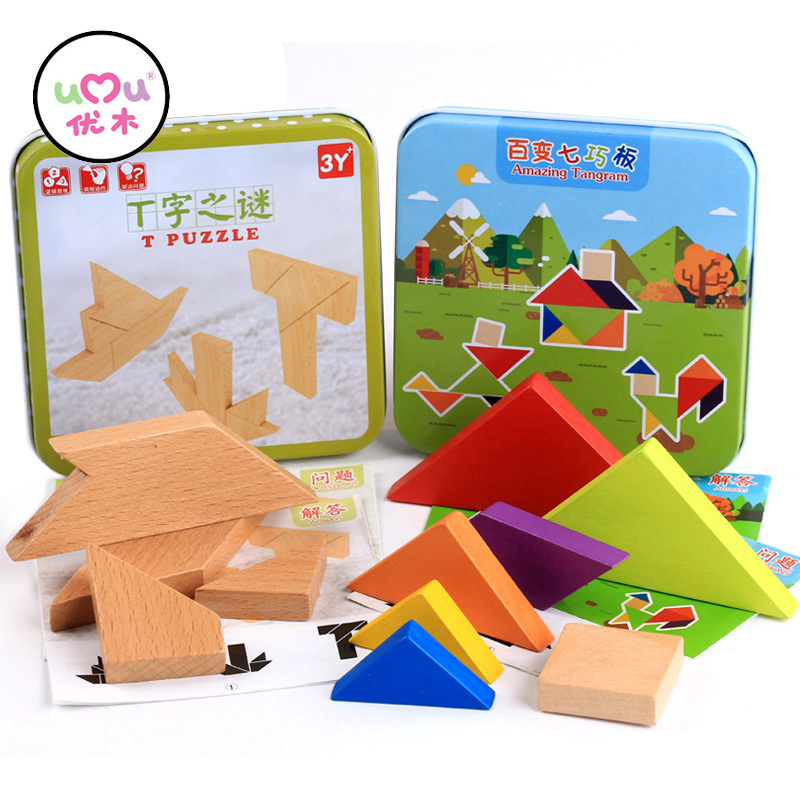 Kids Puzzles Wooden Toys Box Pack Tangram Jigsaw Board Wood Early Learning Geometric Shape Children Educational Toys UJ3166H