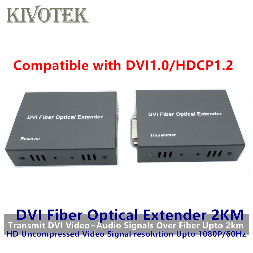 HD1080p DVI Extender Sender Transmit/Receive DVI+Audio Signal by Single Mode Fiber Cable 2KM LC Connector For CCTV Free Shipping-in Computer Cables & Connectors from Computer & Office