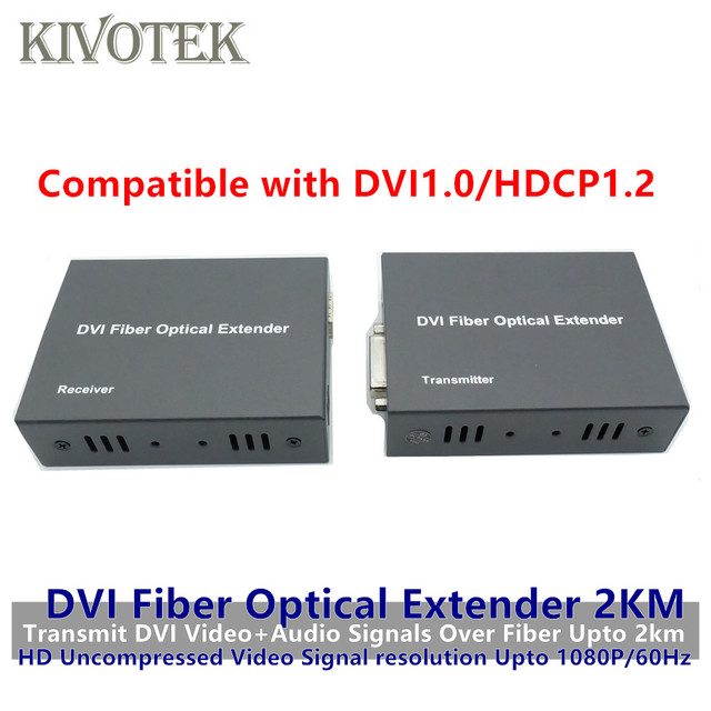 HD1080p DVI Extender Sender Transmit/Receive DVI+Audio Signal by Single Mode Fiber Cable 2KM LC Connector For CCTV Free Shipping