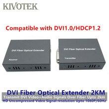 HD1080p DVI extensor transmisor/recibir DVI + Audio señal por Cable de fibra de modo único 2KM LC conector para CCTV envío gratis