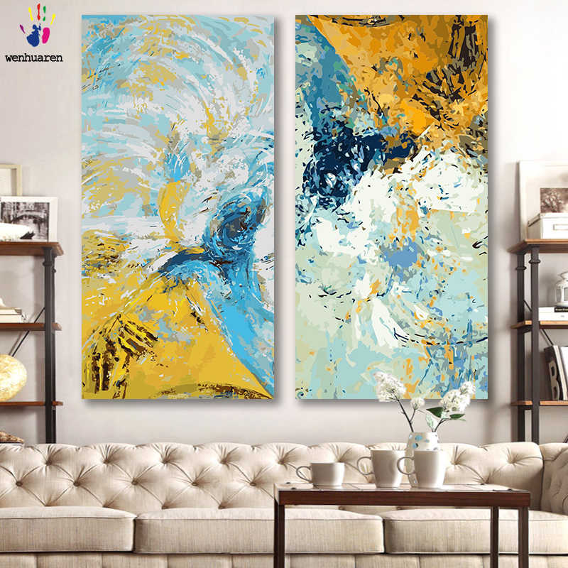 DIY colorings pictures by numbers with colors Large abstraction picture drawing painting by numbers framed Home decor Two pieces
