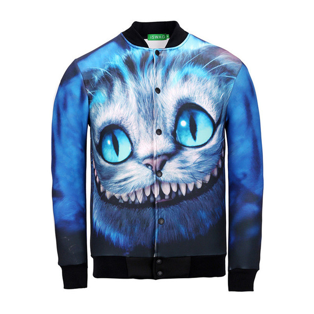 New 3D Print Animal Cat Wolf Deer Tiger Jacket Fashion Leisure Thin Stand Collar Baseball Coat Male Sweatshirt Male Jacket