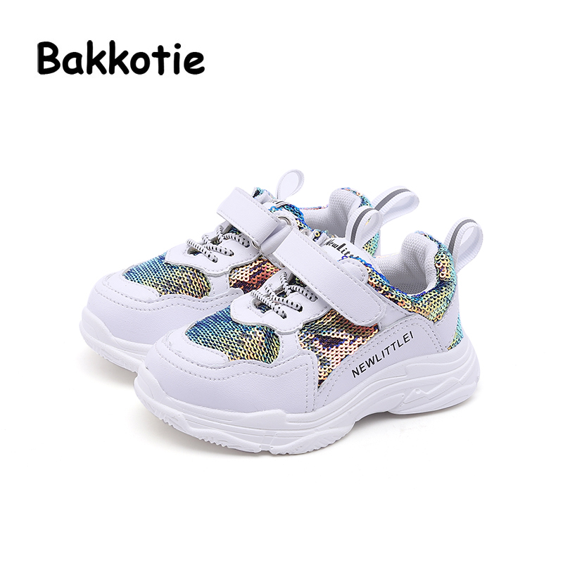 Bakkotie 2018 Autumn Toddler Mesh Casual Sneakers Children Glitter Sport Shoes Baby Boy White Sequin Shoes Girl Brand Trainer