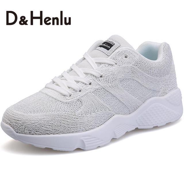 {D & H} женская Вулканизируют Обувь Дышащая Женщин Повседневная Обувь Все Матч Белые Туфли Высота Увеличение Путешествия обувь Женщина